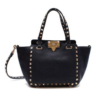 Valentino Denim Blue Leather Small Rockstud Tote Bag