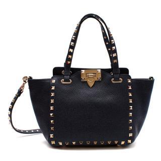 Valentino Denim Blue Leather Small Rockstud Tote Bag