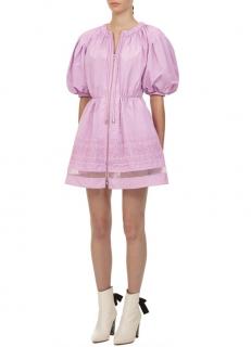 Self Portraint Lilac Puff Sleeve Lace Trim Mini Dress