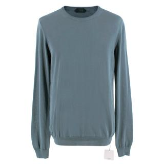 Zanone Blue Cotton Crewneck Knit