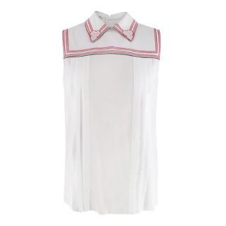Miu Miu White Sleeveless Blouse With Heart Embroidery