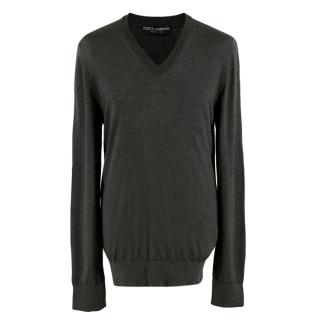 Dolce & Gabbana V-neck Grey Jumper