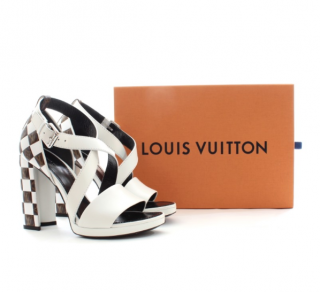 Lous Vuitton white & brown Matchmake Cross Sandals