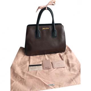 Miu Miu Madras brown leather handbag
