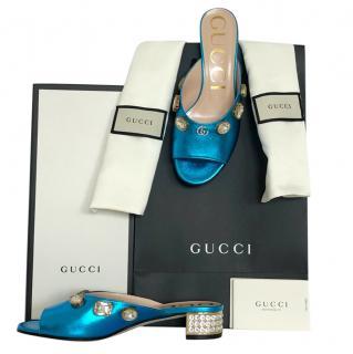 Gucci Lyric turquoise crystal embellished mules slides
