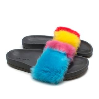 Mira Mikati Multi-colored Faux Fur Slides