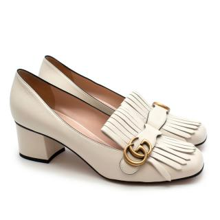 Gucci Marmont White Fringed Leather Mid-heel Pumps
