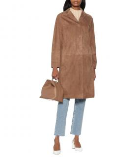 MaxMara Radio brown suede long jacket