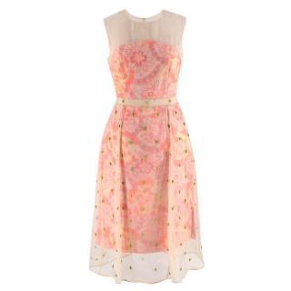 Erdem Peach Floral Jacquard Crystal Dress with Mesh Overlay