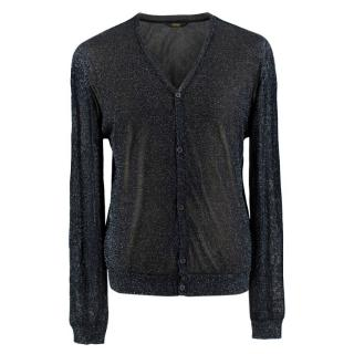 Fendi Glitter Black Semi-Sheer Cardigan