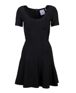 Herve Leger Black Trish Fit & Flare Black Dress