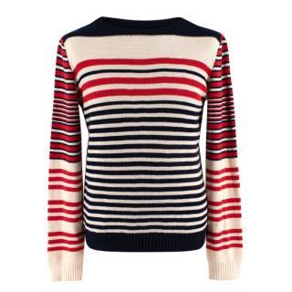 Alexander McQueen Cream, Red & Navy Striped Cashmere Blend Jumper