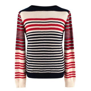 Alexander McQueen Cream, Red & Navy Striped Cashmere Blend Jumper
