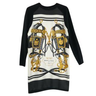 Hermes Brides De Gala Print Twillaine silk cashmere dress