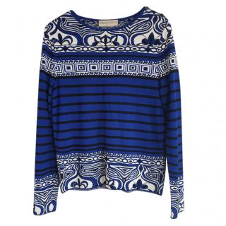 Emilio Pucci Blue Striped Jacquard Jumper