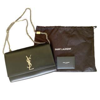 Saint Laurent Black Leather Monogram Shoulder Bag