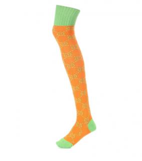 Gucci knitted monogram orange & green knee socks