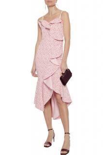 Jonathan Simkhai Asymmetric Ruffled Spotted Midi Dress
