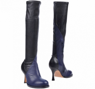 Celine Curved Toe Nappa Leather Two-Tone Stretch Boots