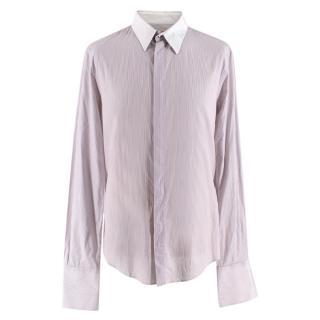 Balenciaga Purple Pinstriped Contrast Collar Shirt