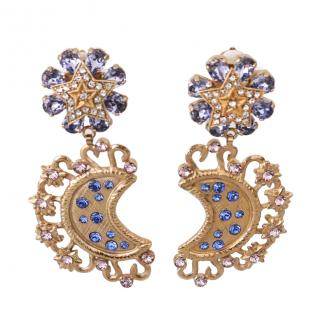 Dolce & Gabbana Star & Moon Crystal Embellished Drop Earrings