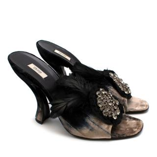 Prada Velvet Jewelled Feather Trim Sandals