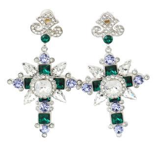 Dolce & Gabbana Crystal Cross Clip-On Earrings