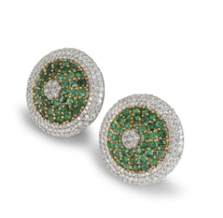 Bespoke White Gold Emerald & Diamond Earrings