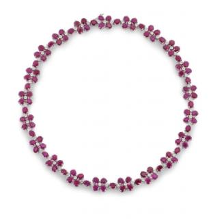 Bespoke White Gold Ruby & Diamond Necklace