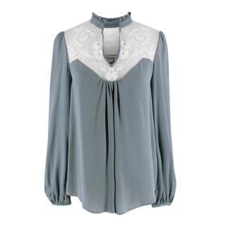 Temperley Blue Silk Blouse with Embroidered Mesh Panel