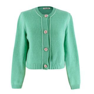 Miu Miu Green Cashmere Cropped Cardigan