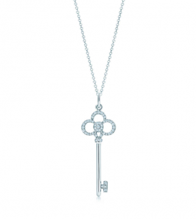 Tiffany & Co. Tiffany Keys Crown Diamond Pendant Necklace