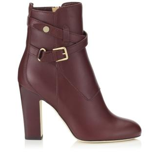 Jimmy Choo wine Mitchel leather ankle boots