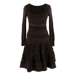 Alaia Chocolate Brown Crochet Fit and Flare Dress