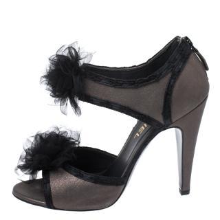 Chanel silk floral-embellished taupe shimmer heeled sandals