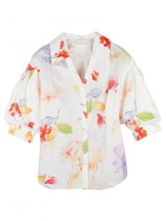 Peter Pilotto Floral Cotton Print Puff Sleeve Shirt