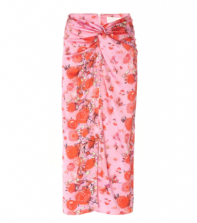 Peter Pilotto Printed Silk Twist Skirt In Pink