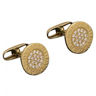 Bvlgari Gold Round Cufflinks with Diamond