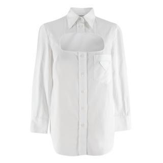 Prada White Cutout cotton-poplin shirt
