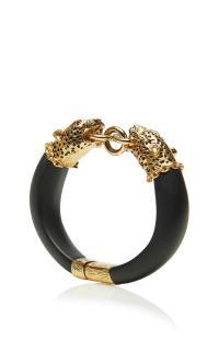 Carole Tanenbaum 1980'S Unsigned goldtone leopard heads bracelet
