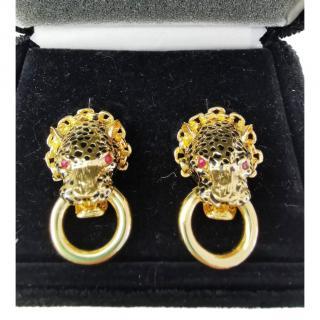 Carole Tanenbaum Unsigned 1980's goldtone leopard head earrings