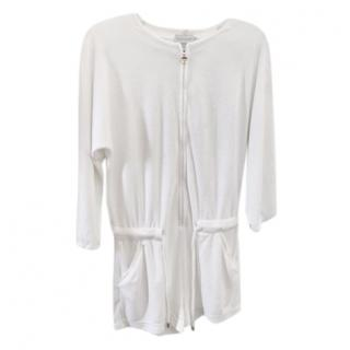 Moncler white draw-string towelling romper