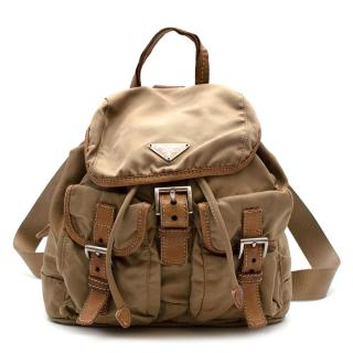 Prada Camel Nylon Leather Trimmed Backpack