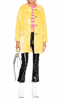Shrimps Yellow Pyrus Faux-Fur Coat