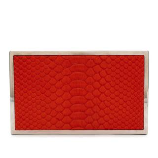 Victoria Beckham Red Python Box Clutch