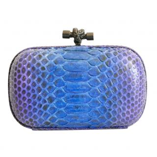 Bottega Veneta blue & purple python knot clutch