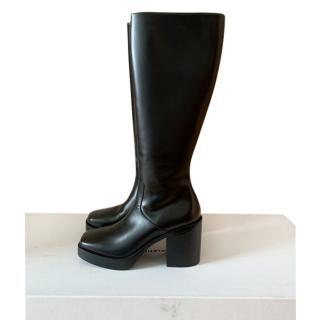 Balenciaga square toe black leather knee boots