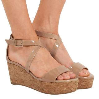 Jimmy Choo Portia 70 patent leather cork wedge sandals
