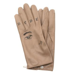 Chez Dede Limited Edition Taupe Leather Printed Gloves