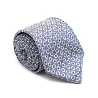 Michele Negri Blue Embroidered Silk Tie